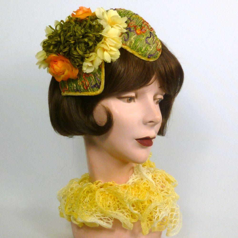 Green Orange Yellow Fascinator Hat Handmade Embroidered Designer Fabric