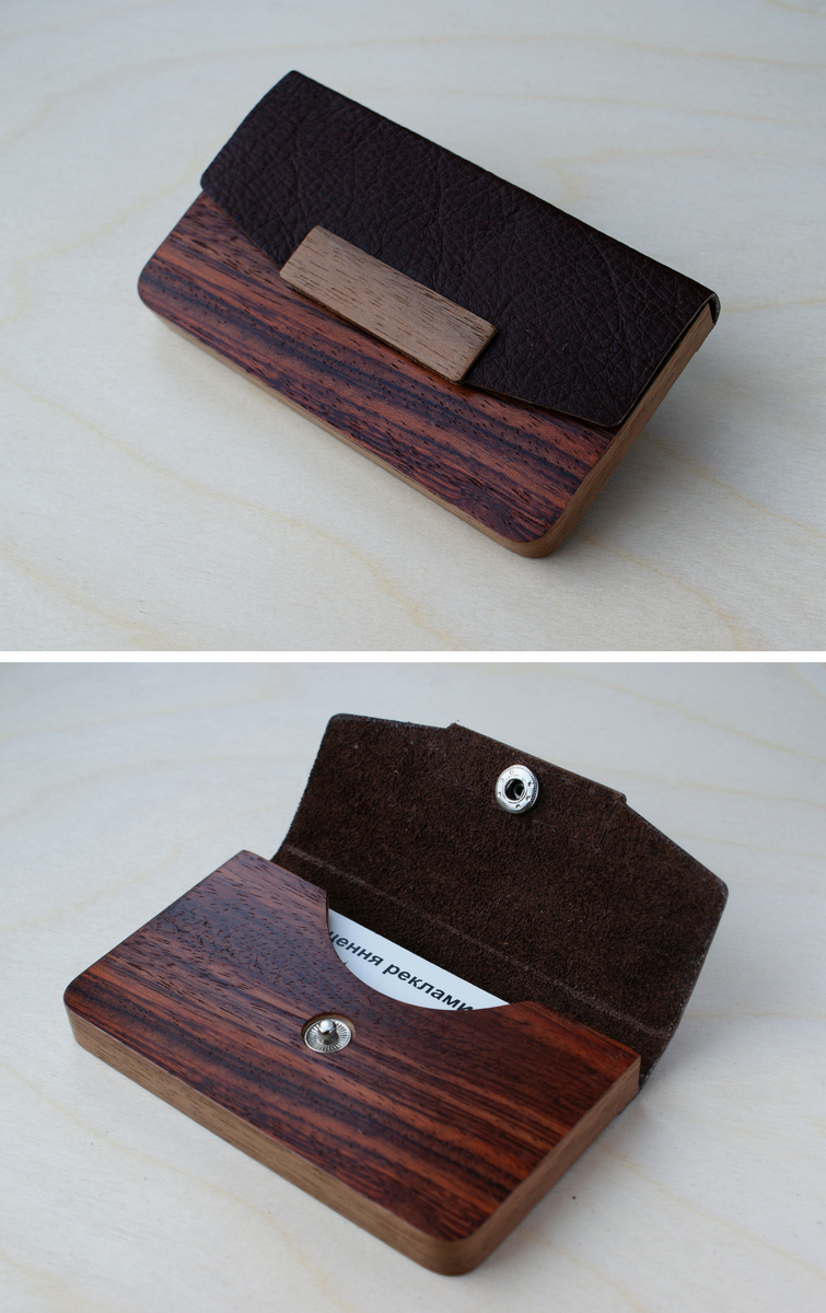 BLAZER LUXURY wood business cardholder for 15-20 business cards ...