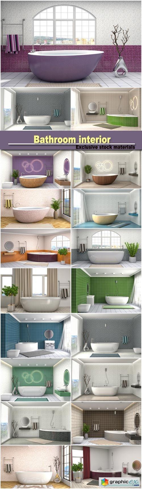 Bathroom interior 3D illustration  stock images