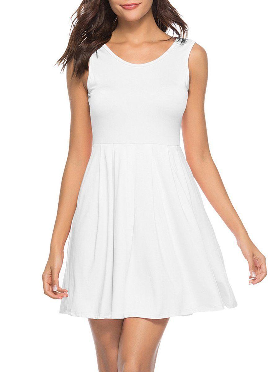 Basic Round Neck Inverted Pleat Plain Skater Dress Plain Skater Dress Skater Dress Dresses [ 1200 x 900 Pixel ]