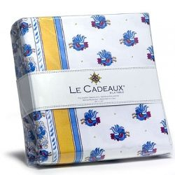Le Cadeaux Water Resistant Tablecloth   Rooster Blue   69 X 69 In