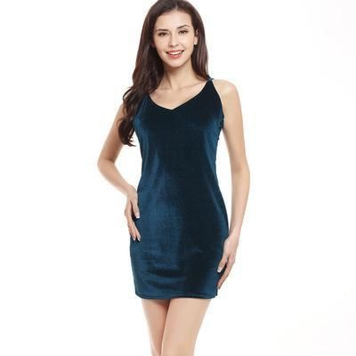 8354a9151a6f V Neck Straps Velvet Sexy Bodycon Sleeveless Mini Dress Quality Brand  Spring Summer Women Ve · Womens Party DressesSexy ...