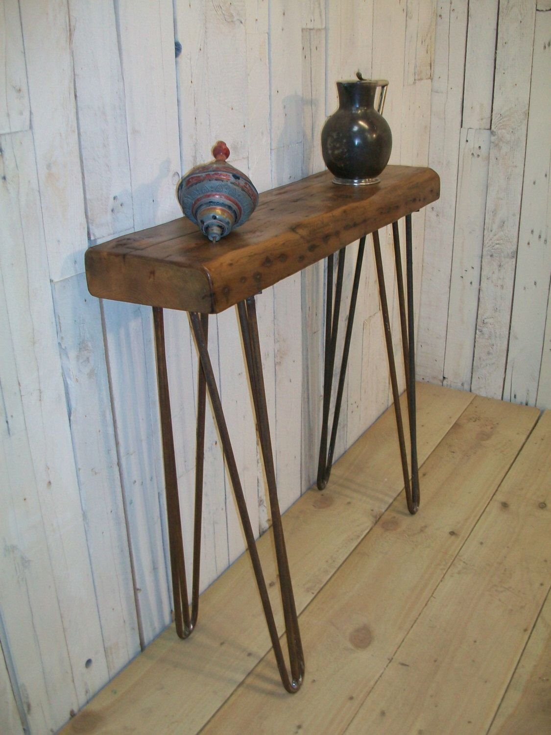 British made Vintage Style industrial chic Hairpin leg hall table
