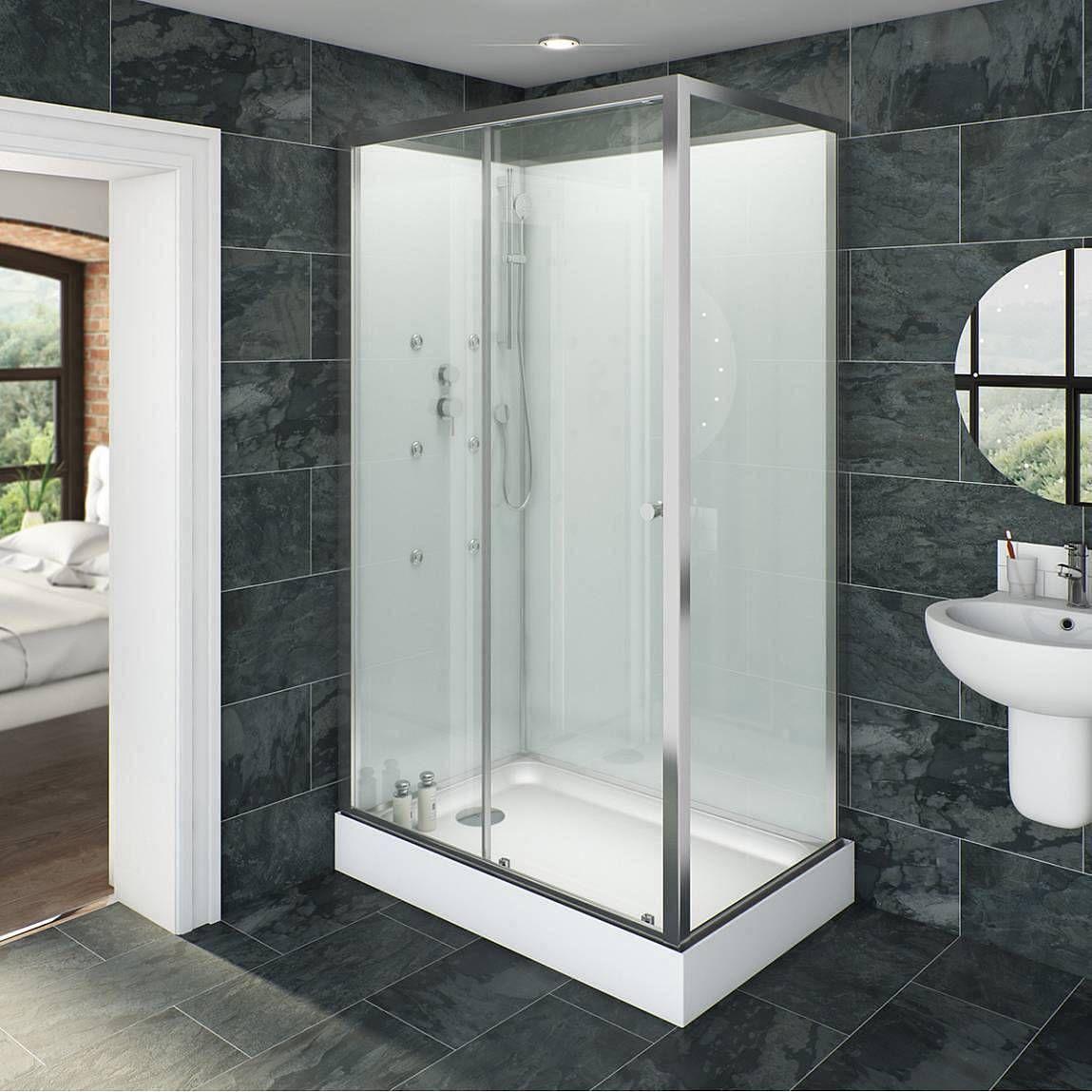 Glass backed rectangular shower cabin 1200 x 800 | Shower cabin ...