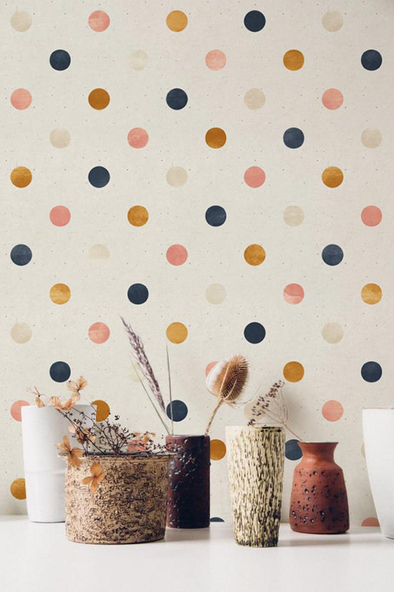 Peel And Stick Wallpaper With Polka Dot Pattern Removable Etsy Peel And Stick Wallpaper Nursery Wallpaper Removable Wallpaper