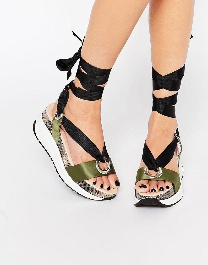 7b999330acc KG By Kurt Geiger Khaki Tie Up Flatform Sandals