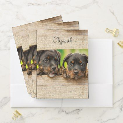 Puppies Rottweiler Personalized Pocket Folder Zazzle Com
