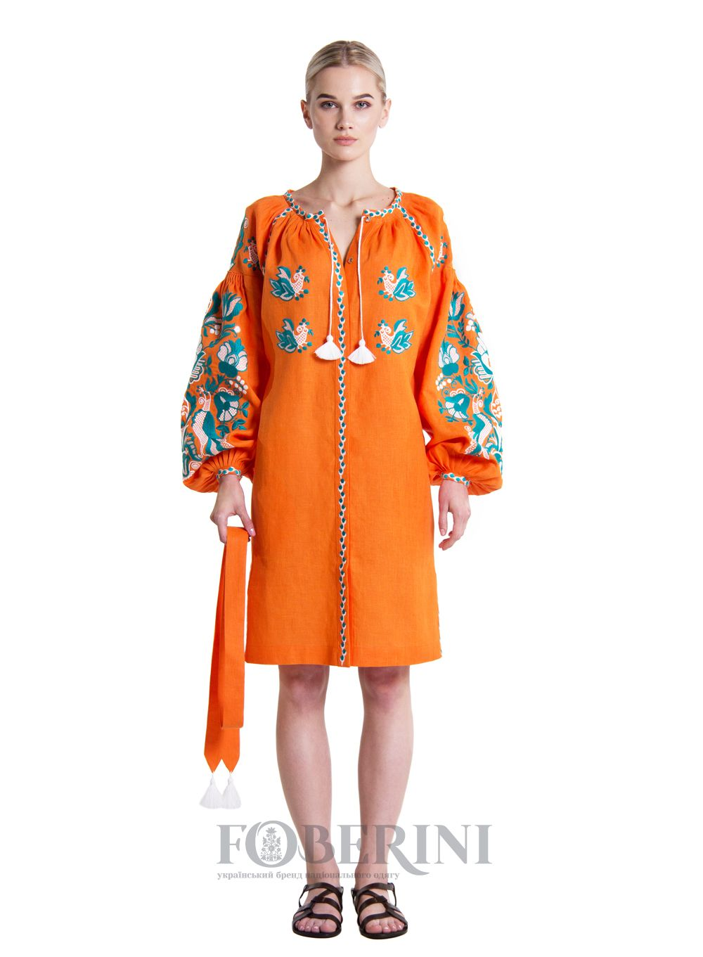 """Embroidered tunic """"Sun Bird"""" is made of natural linen. Buy embroidered tunic in Kiev by phone +38 098 723 93 93"""