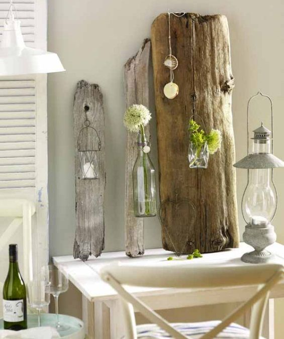 diy driftwood decor weathered planks home glass candle holders