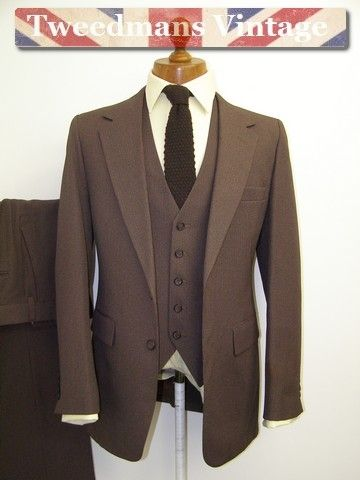 Vintage brown English tweed slim fit wedding lounge suit hire ...