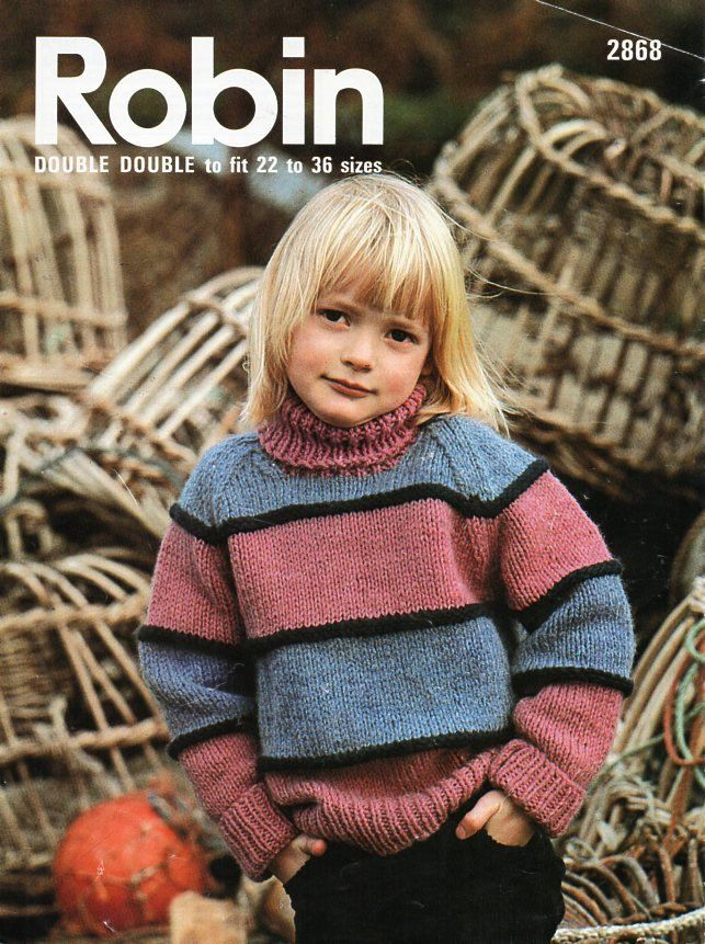 Vintage child / childrens chunky polo neck sweater knitting pattern ...