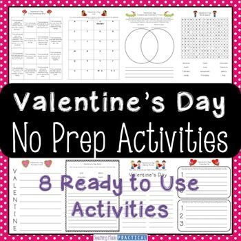 Valentines day activities valentines day no prep making words valentines day activities valentines day no prep making words venn diagrams and word search ccuart