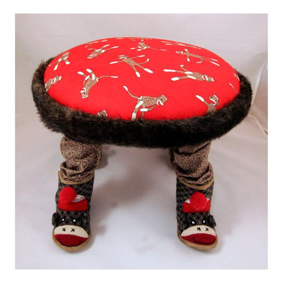 Small Footstool, Child's Chair, Sock Monkey, Children's ...