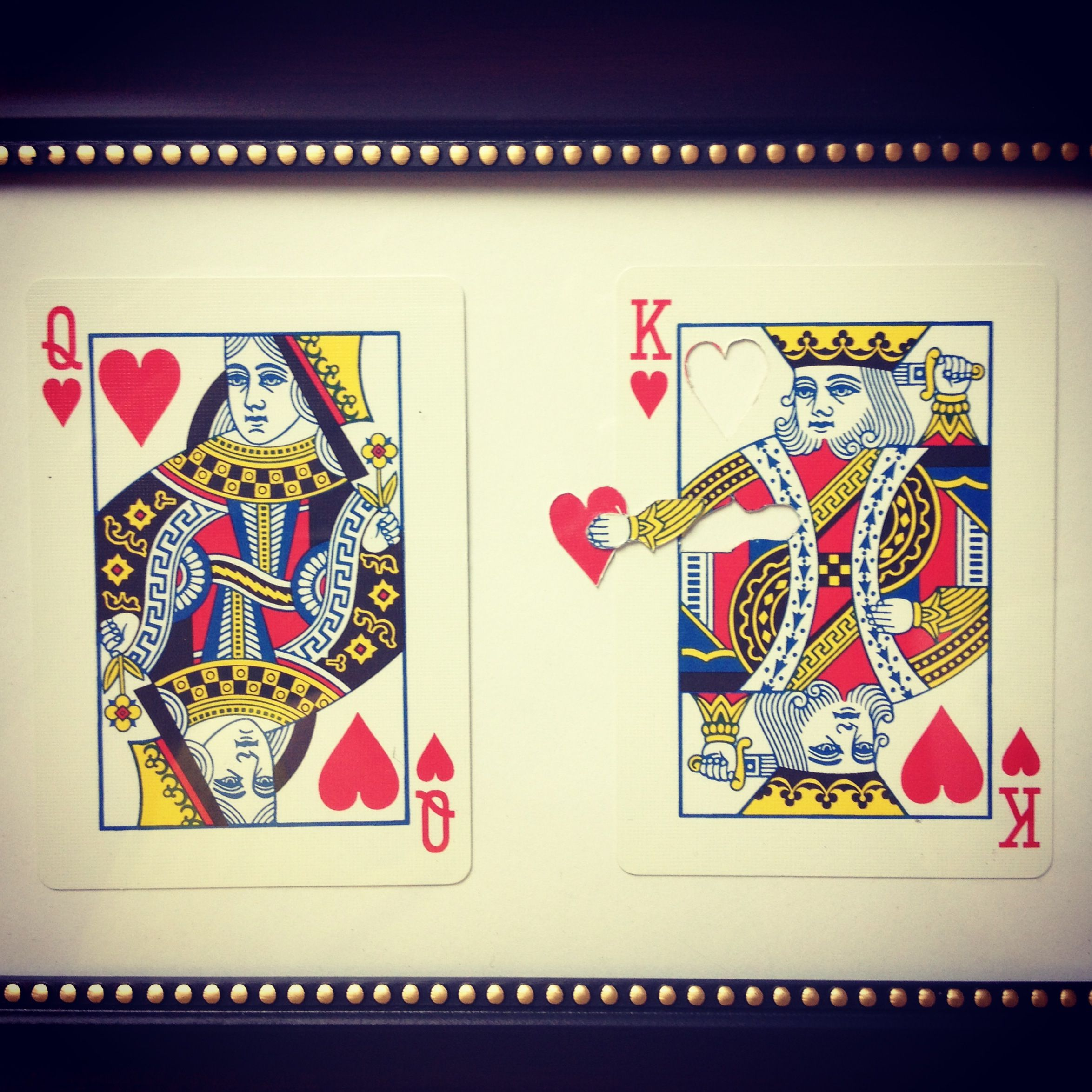 The King of Hearts gives his heart the Queen of his heart. My husband made this for me for Valentine's Day.