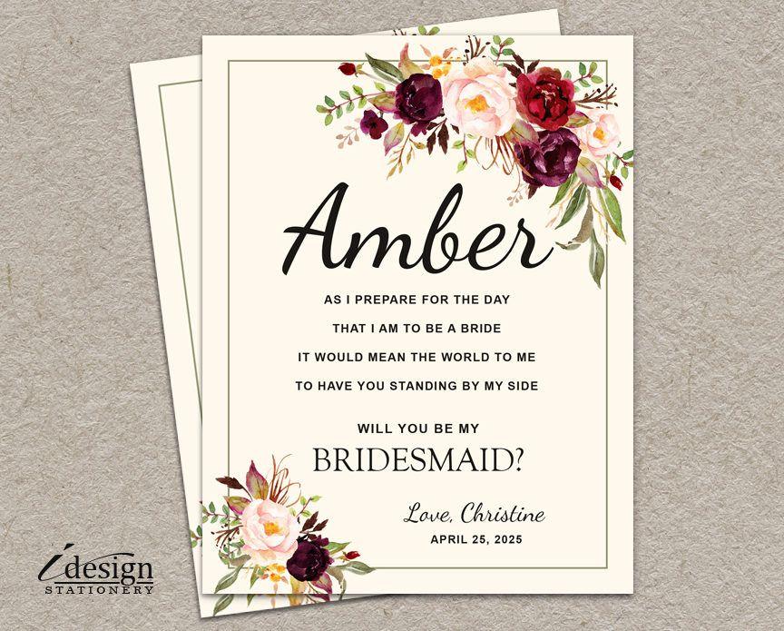 Party Proposal Will You Be My Bridesmaid Card  Diy Printable Boho Bridal Party .