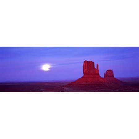 Home #utahusa East Mitten and West Mitten buttes at sunset Monument Valley Utah USA Canvas Art - Panoramic Images (36 x 12) #utahusa