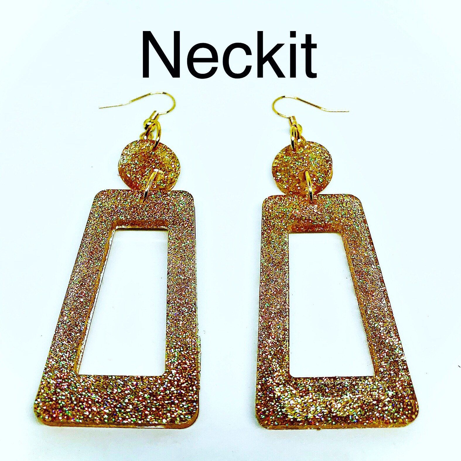 Gold glitter resin earrings dangles in 2020 with images