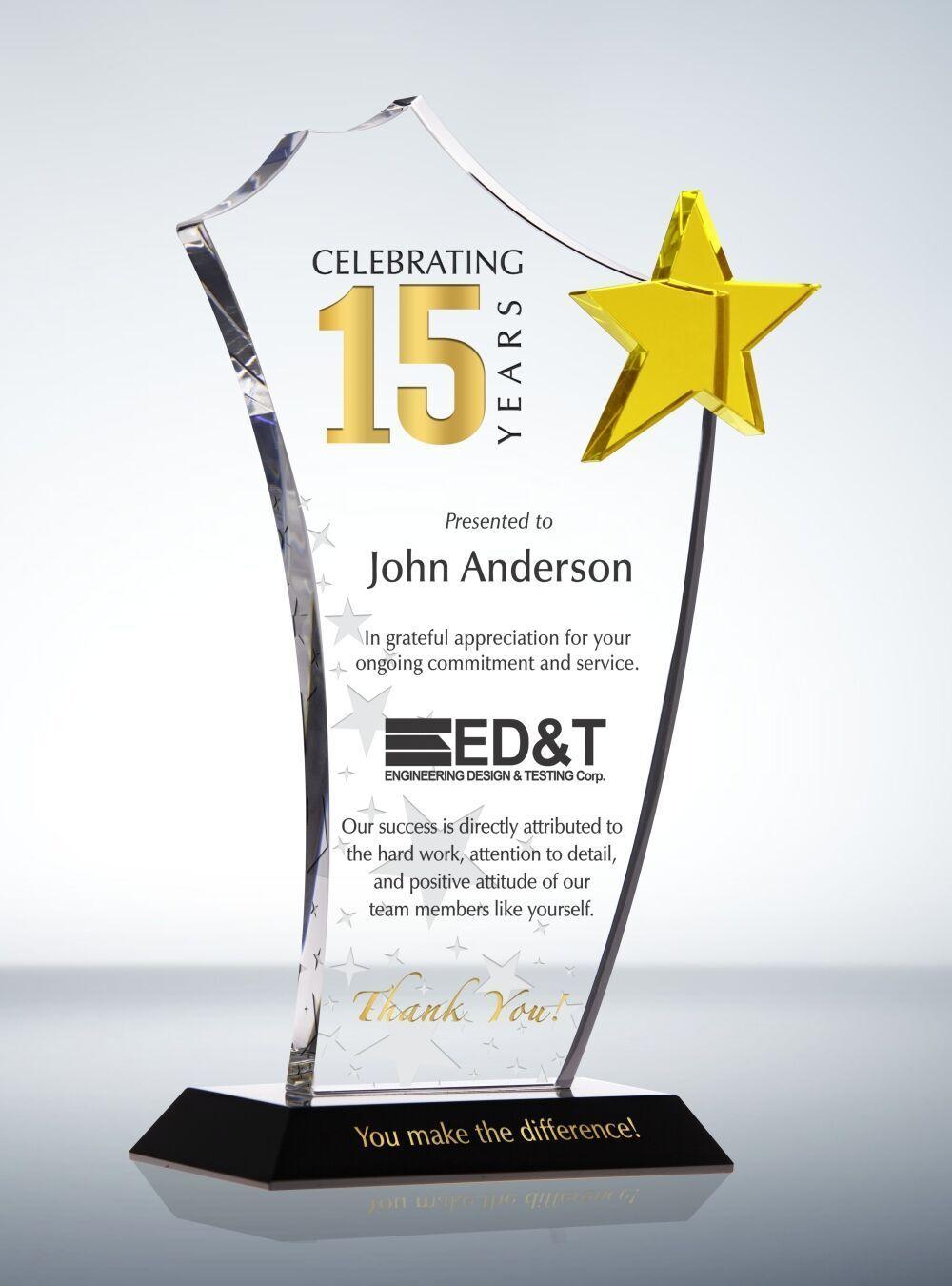 Gold Star Long Service Award Plaque Award Plaques Service Awards Employee Appreciation Awards