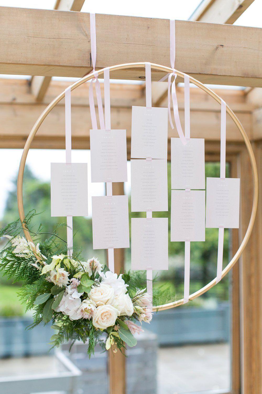 Hoop Table Plan with Flowers Wedding table flowers
