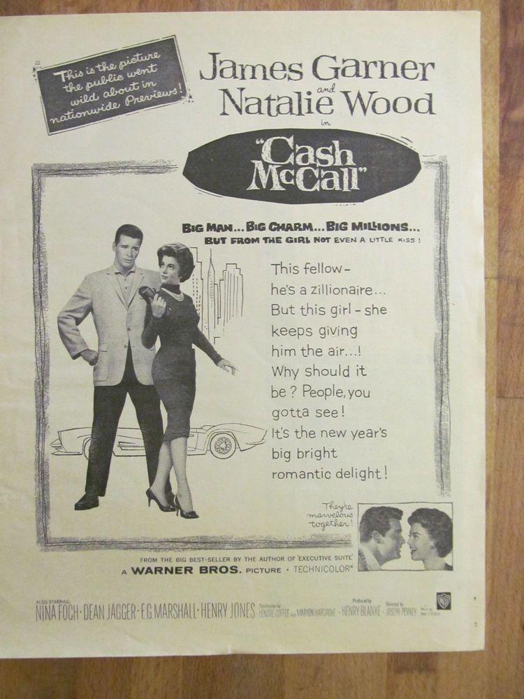 Natalie Wood, James Garner, Cash McCall, Full Page Vintage ...