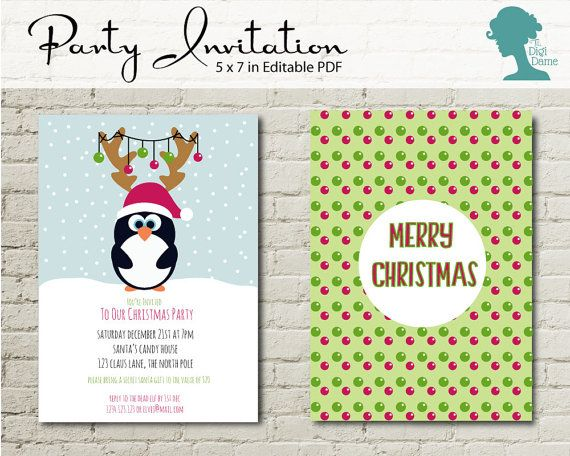 Christmas Winter Penguin Party Printable Invitation, 5x7in Instant