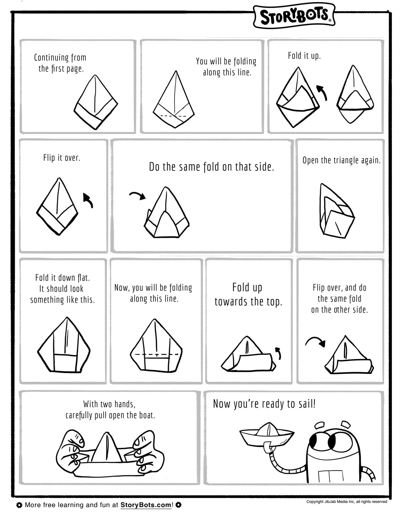 how to fold a paper boat part 2 summer activity sheets activity sheets summer activities. Black Bedroom Furniture Sets. Home Design Ideas