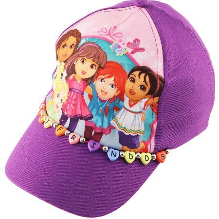 8e091b12995 Nickelodeon Little Girls Dora And Friends Cotton Adjustable 5 Panel Baseball  Cap With Best Friends Heart Shaped Plastic Beads