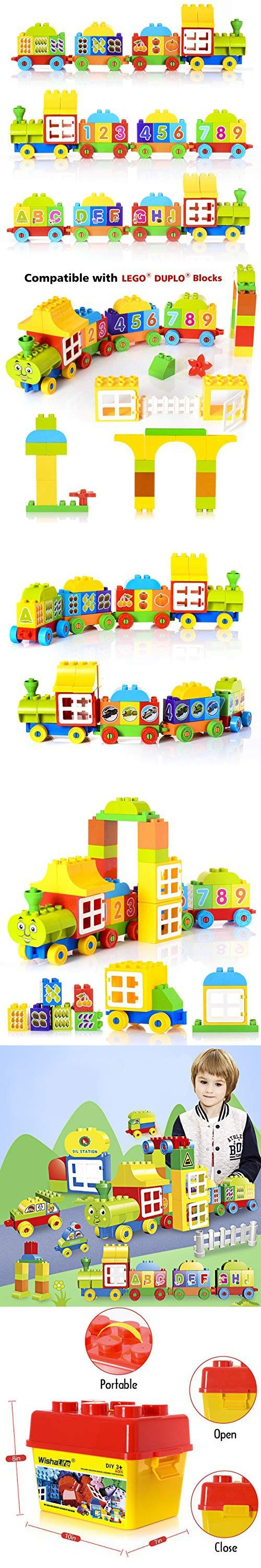 WishaLife 60 Pieces - My First Number Alphabet Train