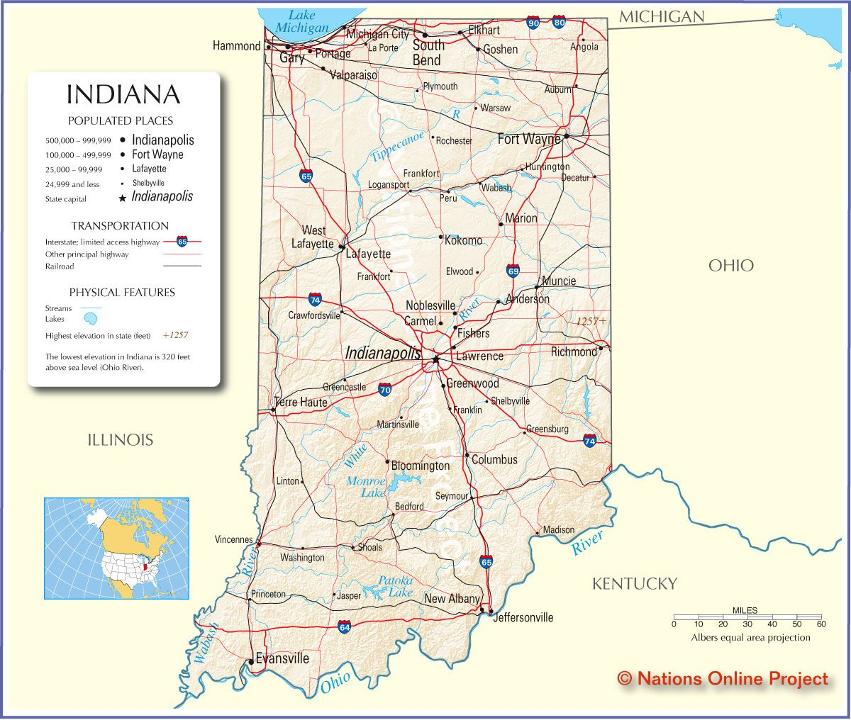 Indiana State Maps Usa Nations Online Project Indiana Map Map Indiana
