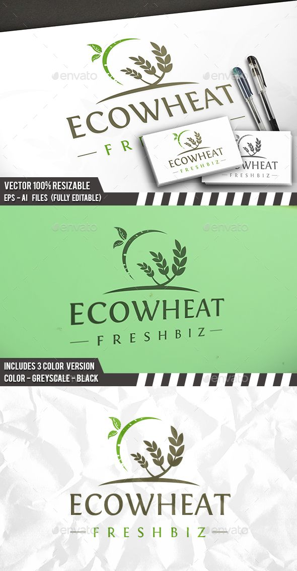 eco wheat logo logos ai illustrator and logo templates