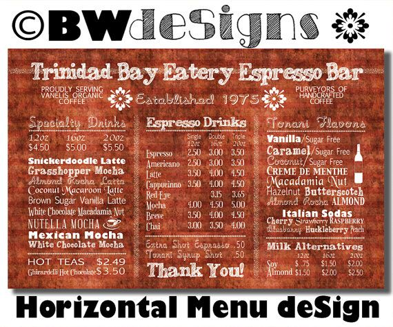 Custom HORIZONTAL Menu Board- Coffee Shop Sign- Small Restaurant - coffee menu