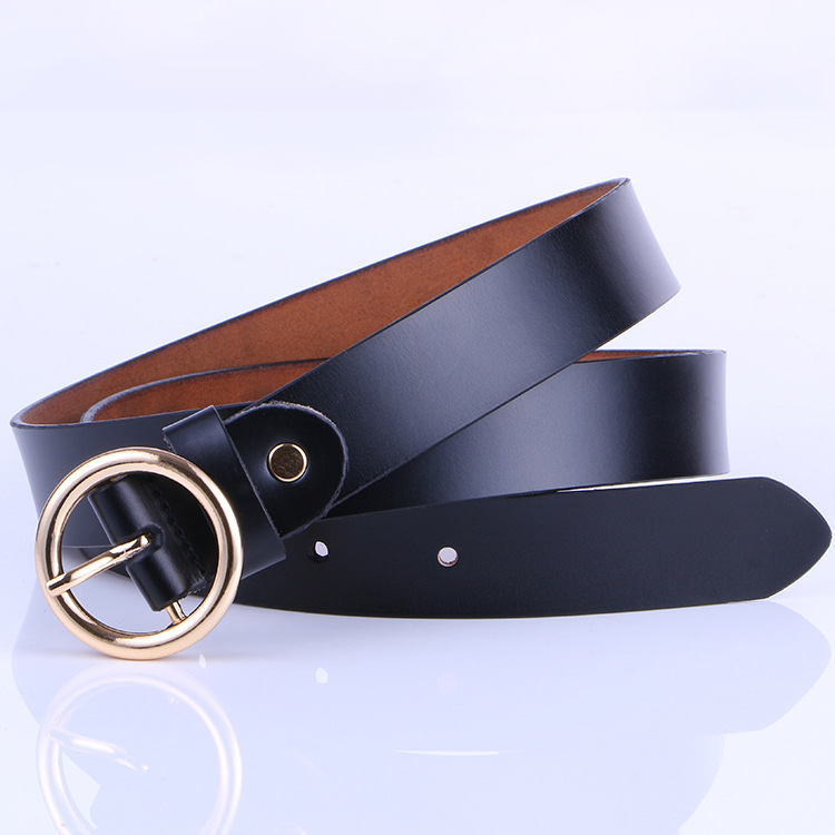 The new lady fashion retro pure leather belt belt ladies all-match round buckle leather belt ladies fine belt