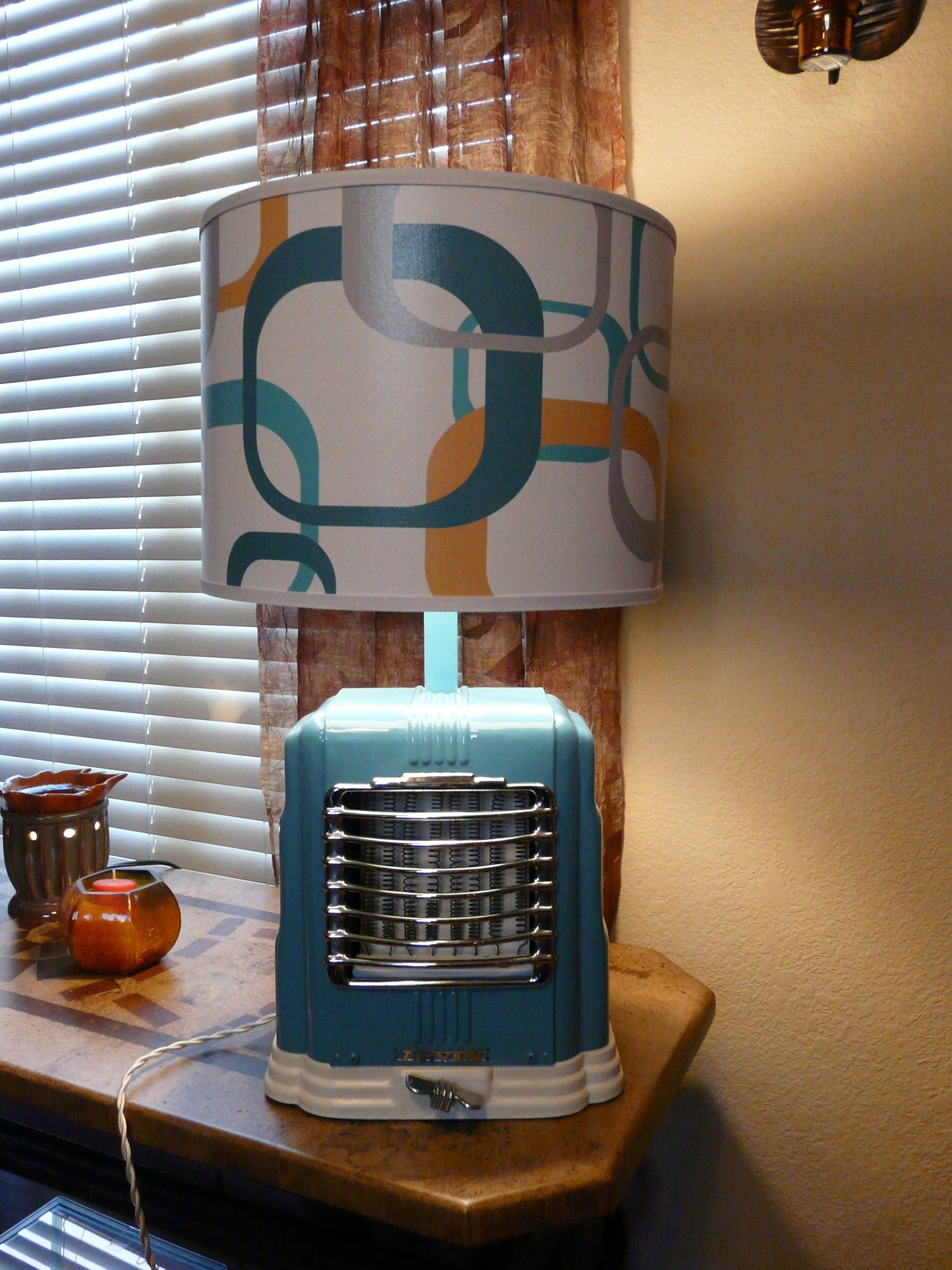 table lamp made from upcycled vintage heater Lamp