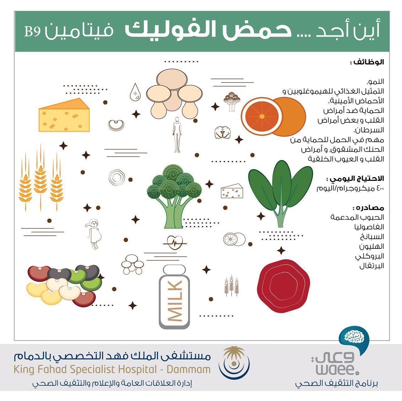 الأطعمة الغنية بحمض الفوليك Dammam Map Medical