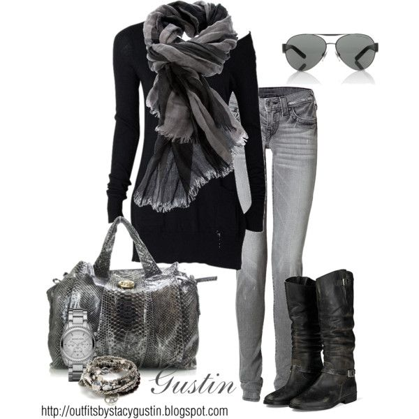 gray skinny jeans with fantastic scarf