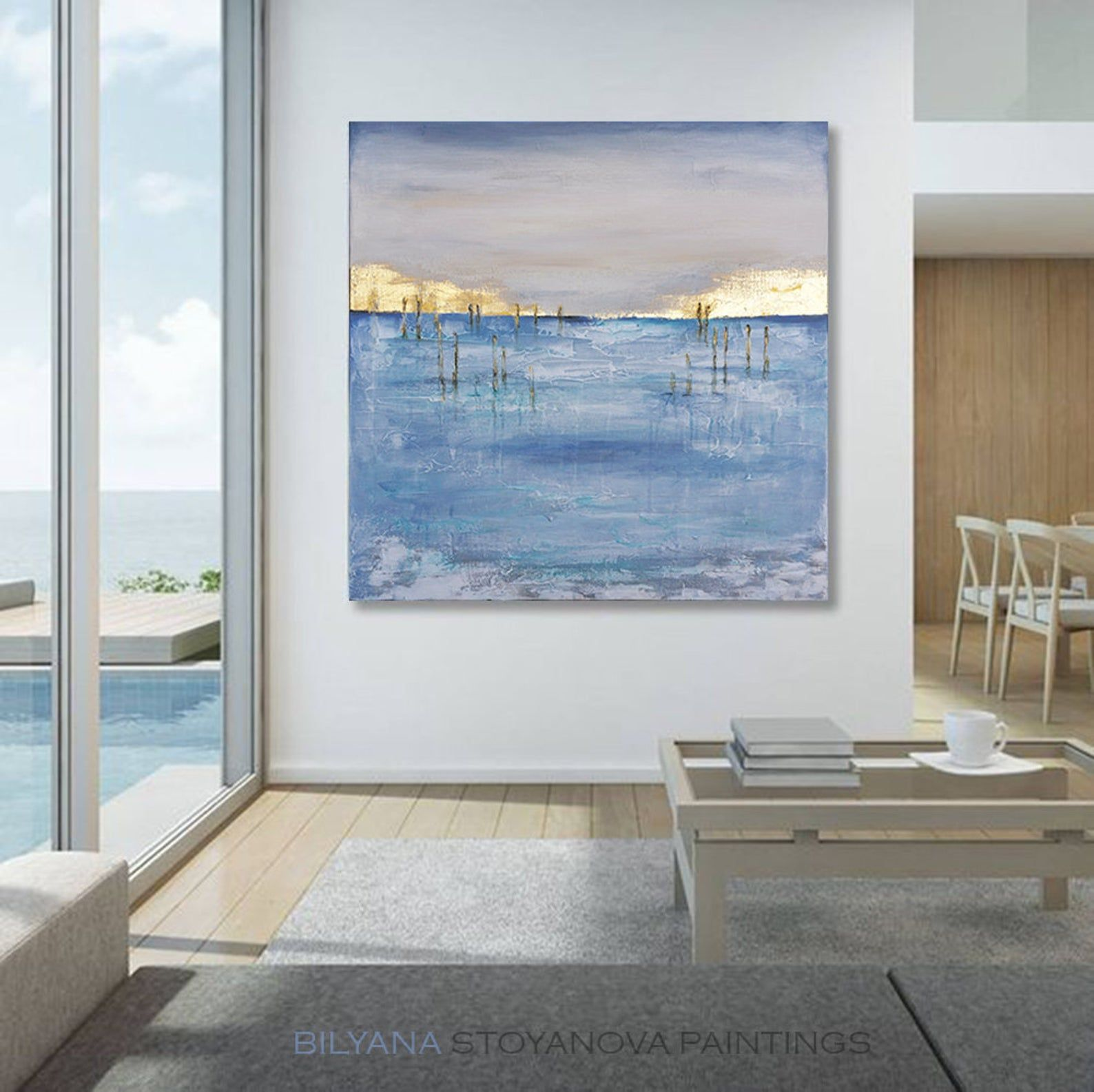 Beyond the Blue Horizon, Abstract Seascape by artist Bilyana ...