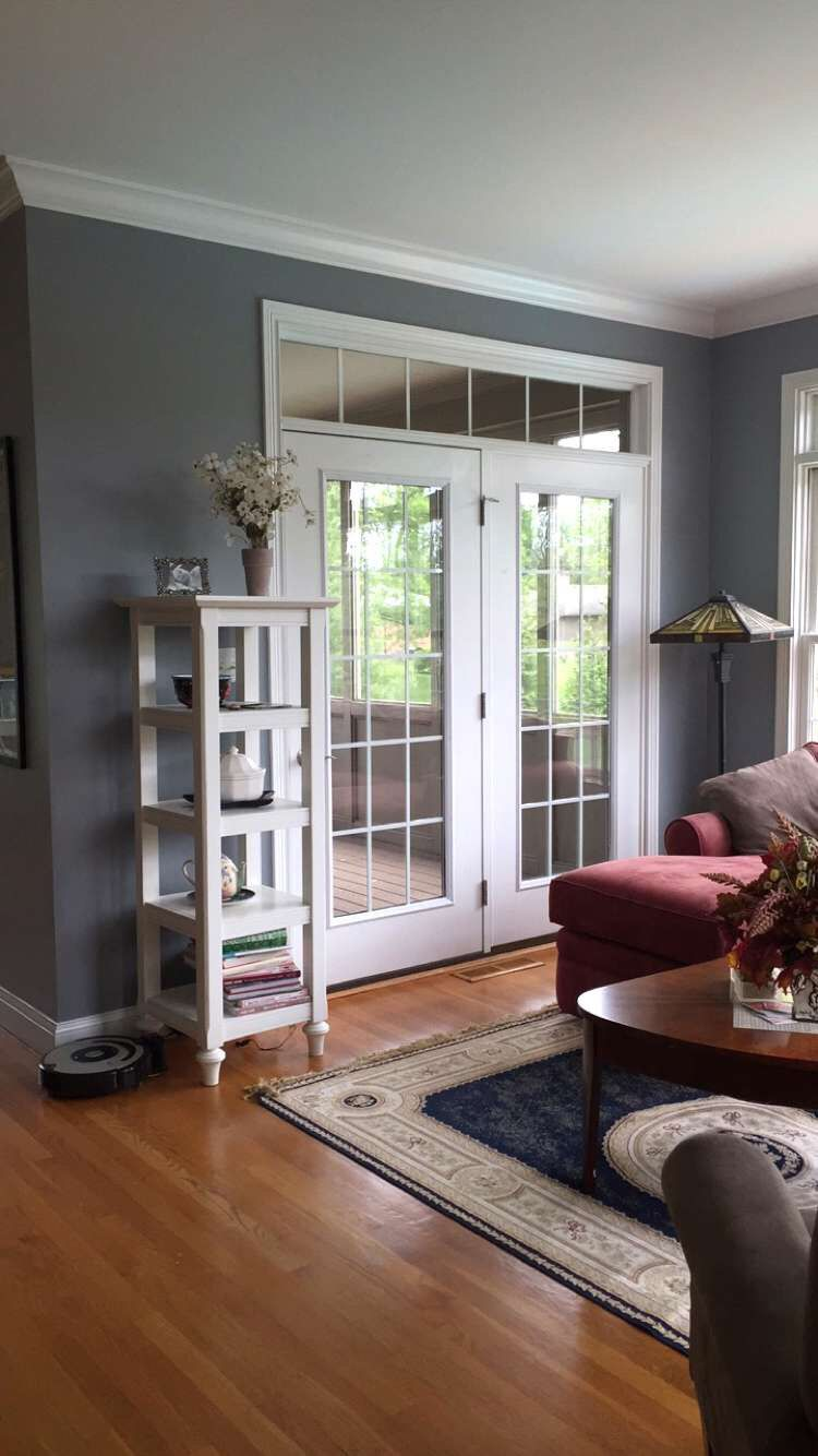 African gray sherwin williams sun room living room - Grey paint living room ...