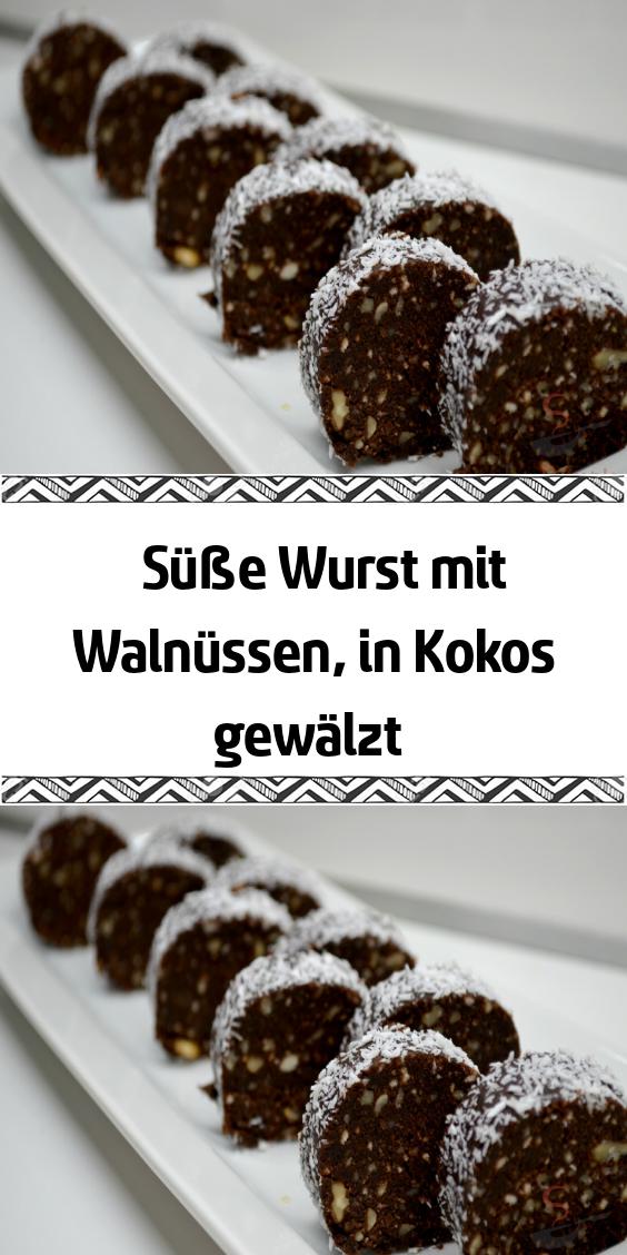 Süße Wurst mit Walnüssen in Kokos gewälzt #kuchenkekse
