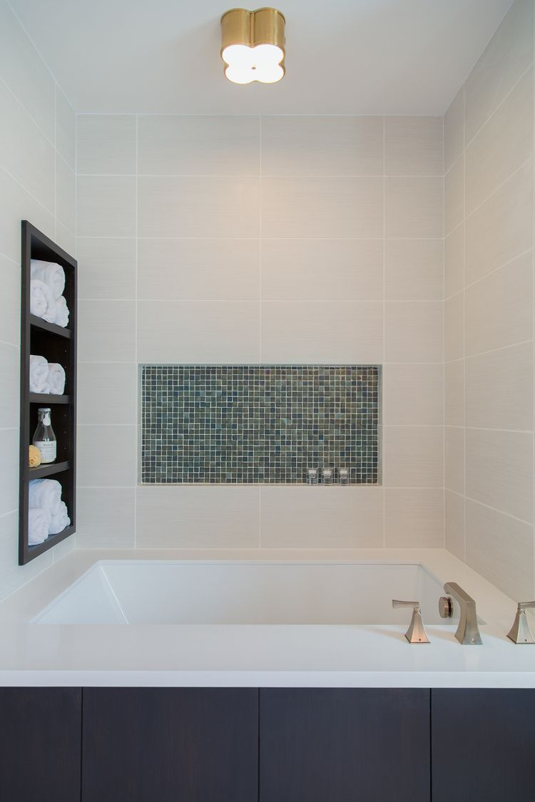Charmant Bathroom Remodel; Tub; Glass Tile; Storage Niche | Interior Designer: Carla  Aston
