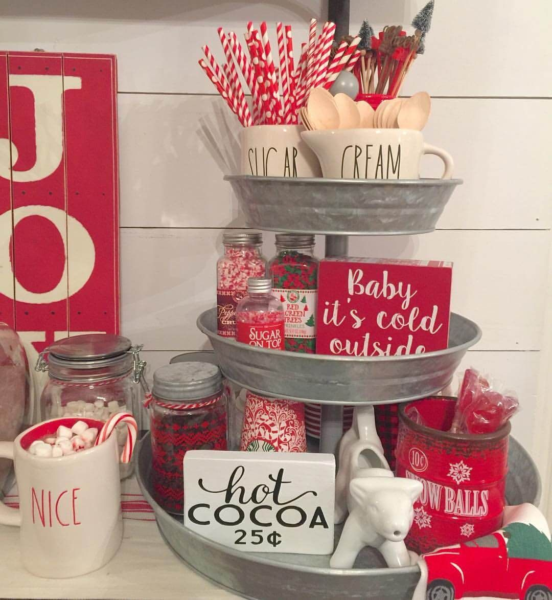 Kitchen Island Christmas Decor: Three Tiers For The Hot Cocoa Station