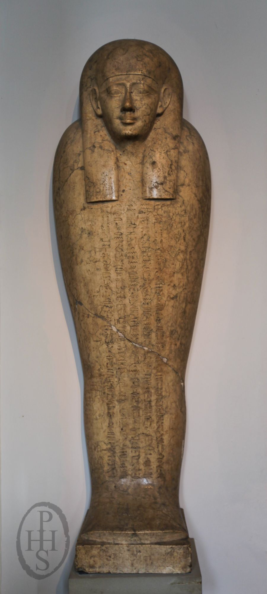 Limestone anthropoid coffin of Pedienese, the body is elaborated with five vertical registers of hieroglyphs, containing part of Chapter 72 of the Book of the Dead, partly restored. Room 4: Egyptian sculpture,  British Museum