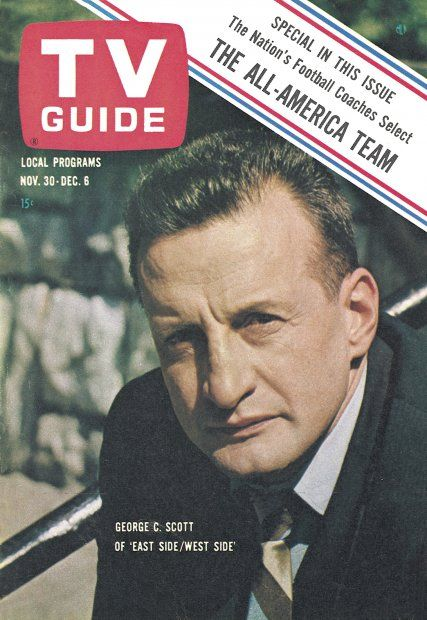 "TV Guide, November 30, 1963 - George C.Scott of ""East Side/West Side"""