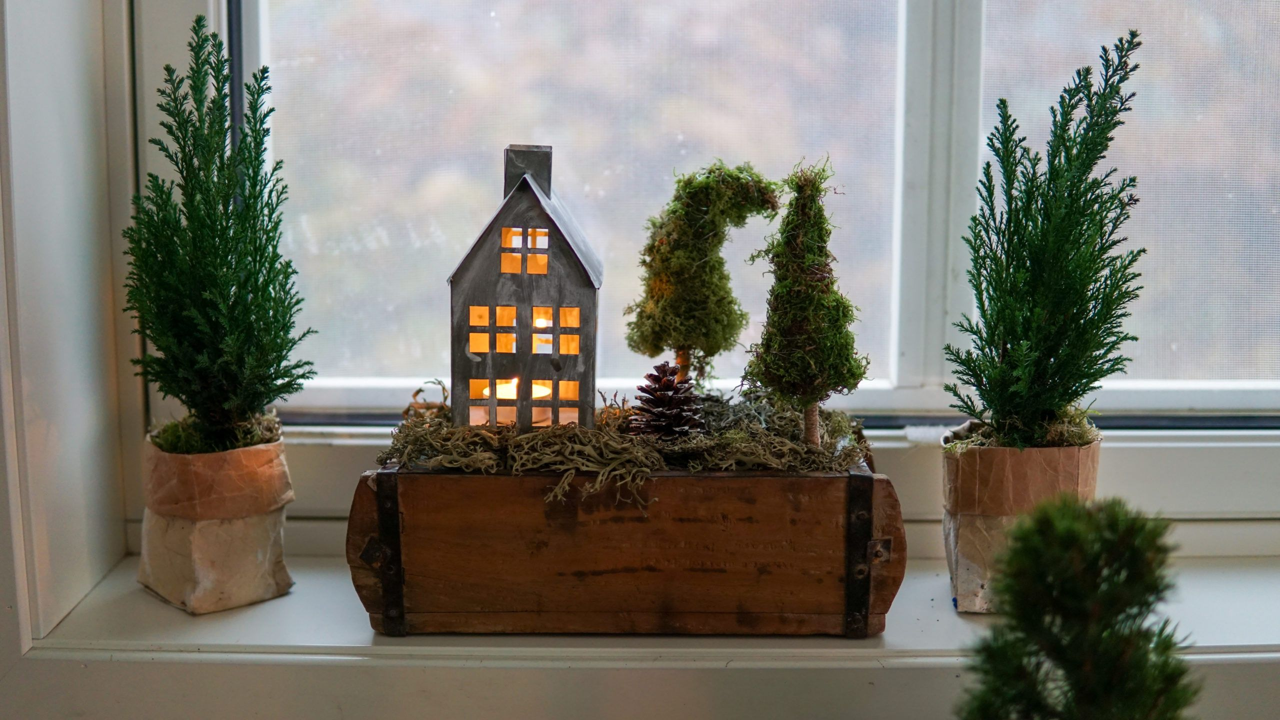 Adventsgesteck mit Moos Tannenbaum – Deko-Hus