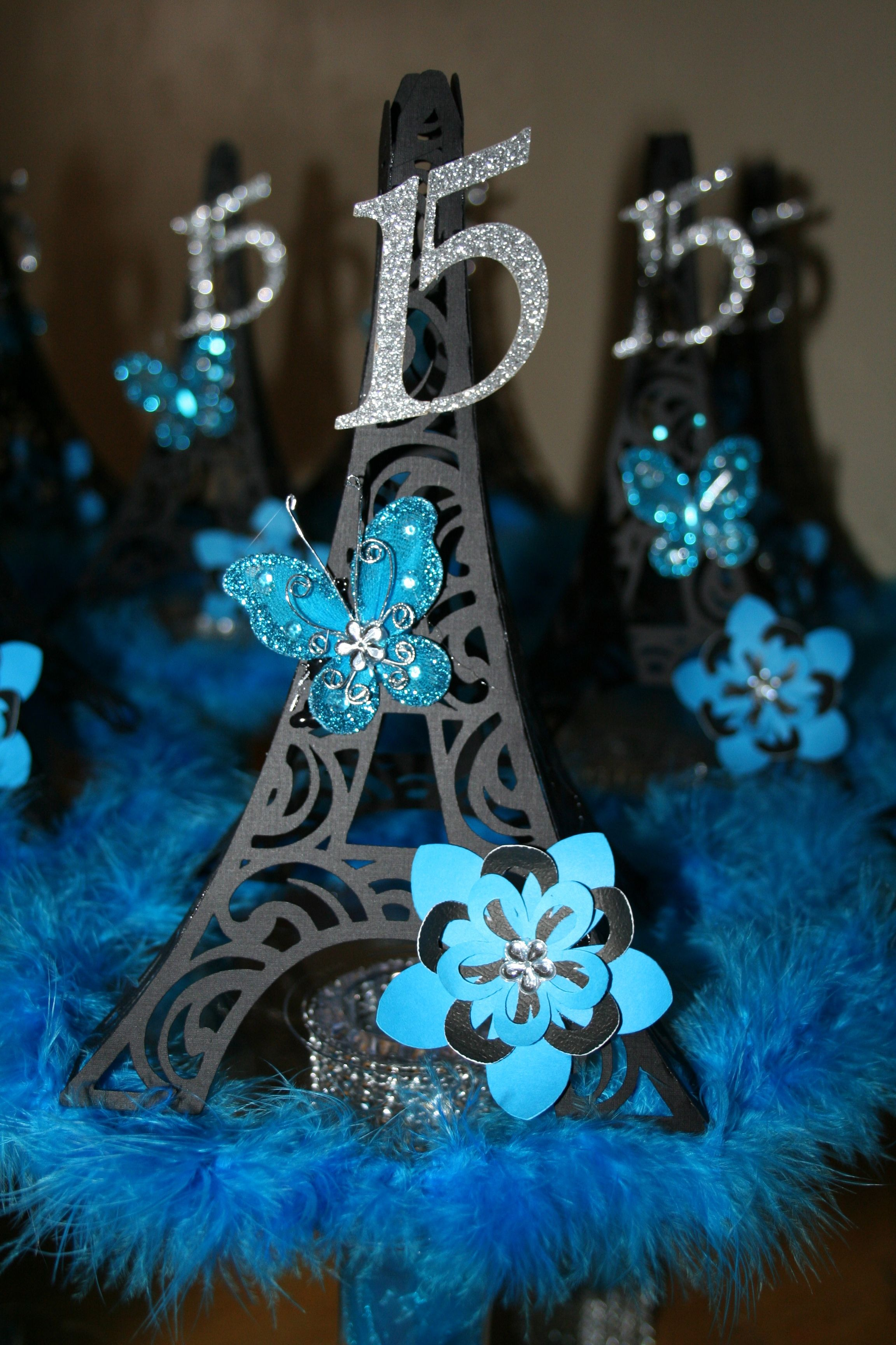 paris quincenera centerpieces i just finished made with my own hands pinterest. Black Bedroom Furniture Sets. Home Design Ideas