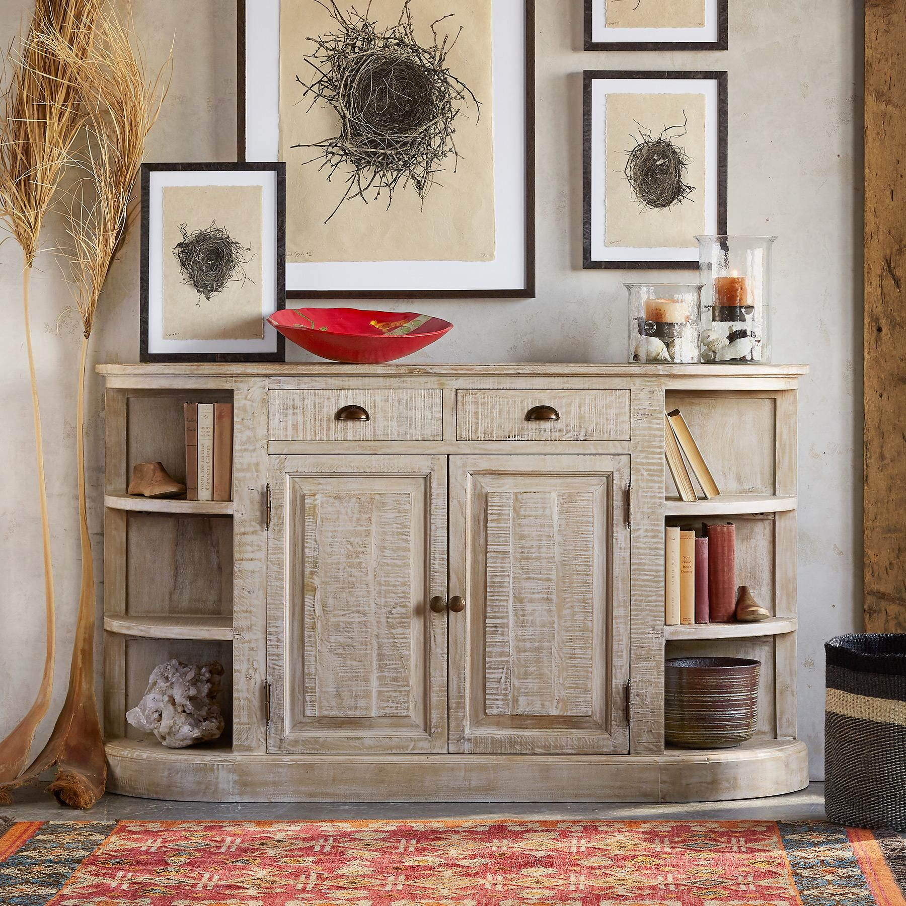 Lovely FARRAR HANDCRAFTED CONSOLE    Handcrafted Of Sustainably Grown Mango Wood  With A Beautiful Whitewashed