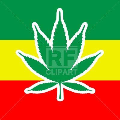 Marijuana Leaf And Jamaica Flag Rastafari Symbols Stock Vector