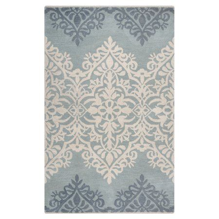 Rizzy Home Marianna Fields Woolen Rug In Blue Green Color 9'x12'