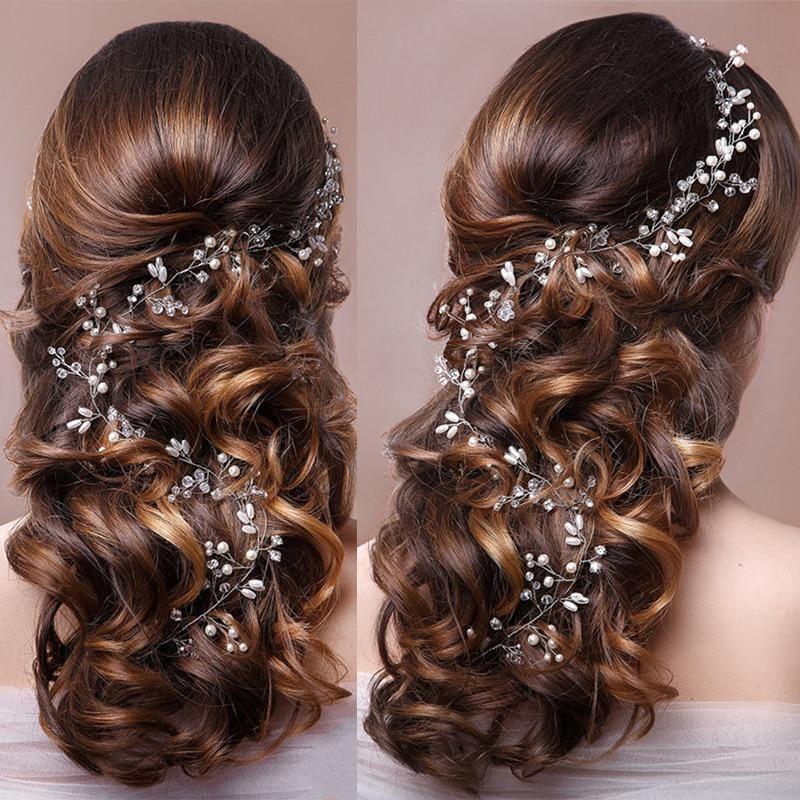 European Bridal Long Pearl Crystal Flower Headbands Hairband