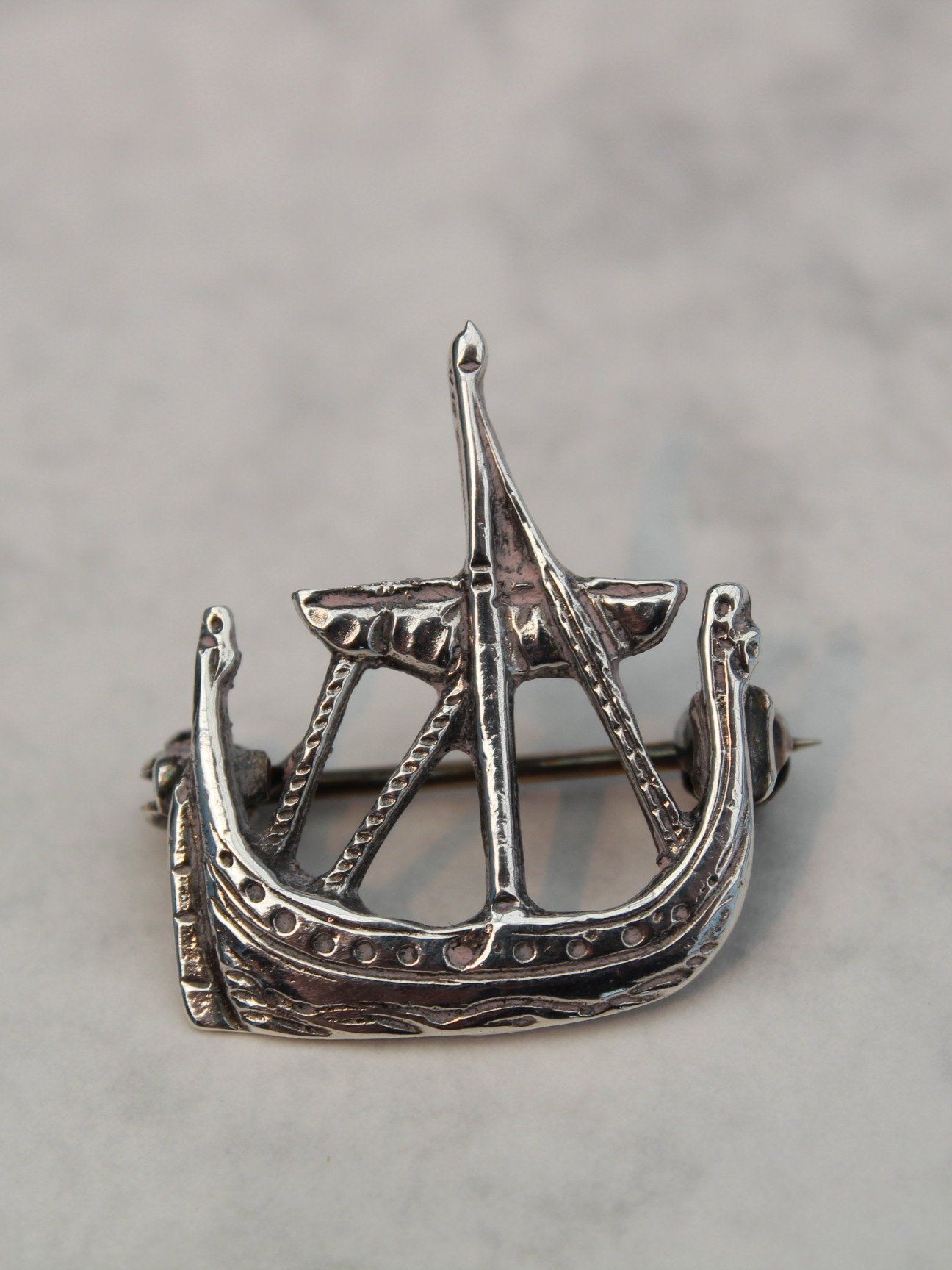 Vintage Silver Viking ship brooch/badge in the style of
