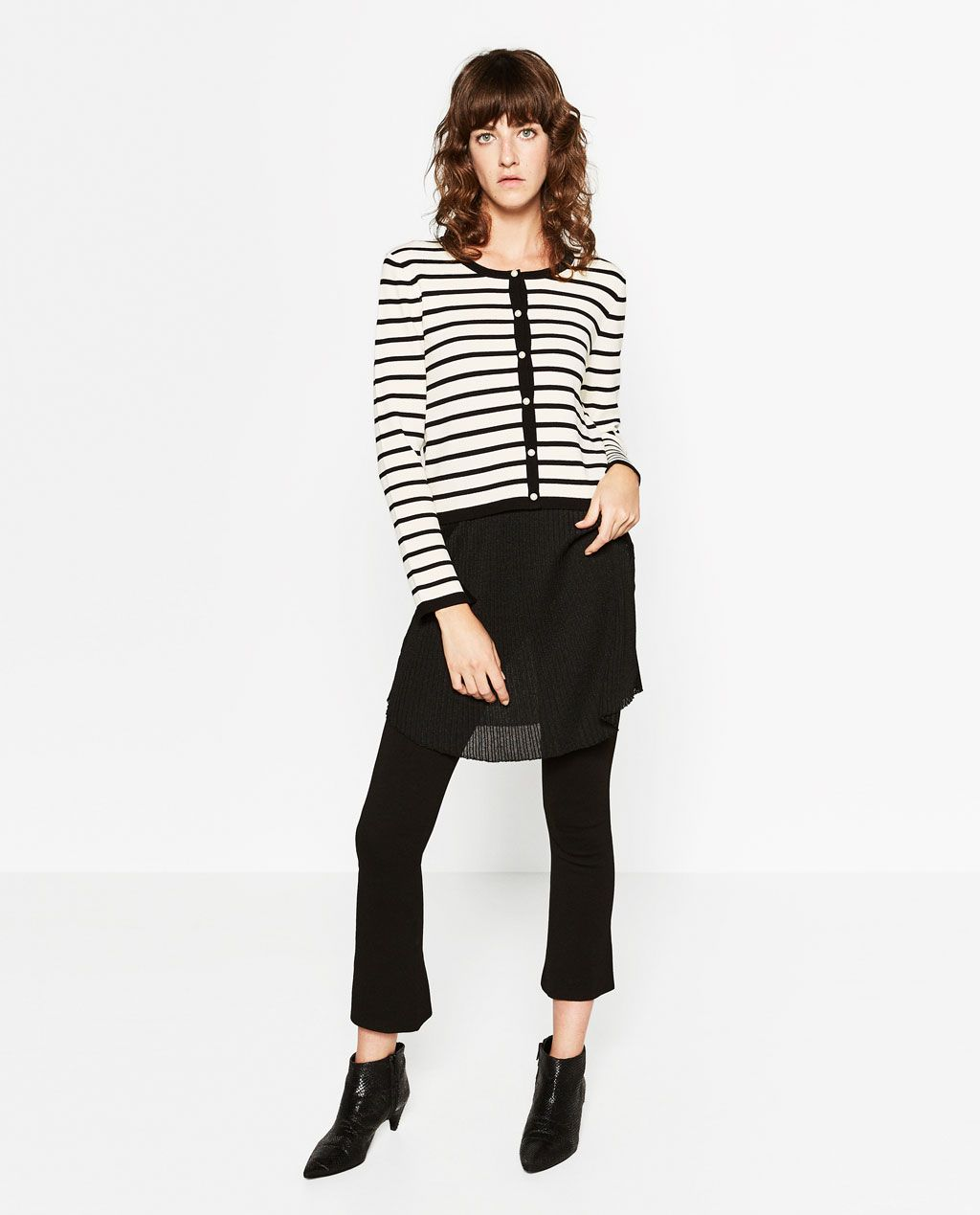 Cropped Cardigan Stripes | ZARA | Lines | Pinterest
